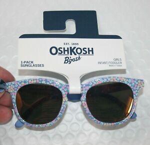 New OshKosh Girls Sunglasses 1 2 yr 0-24m 100% UVA-UVB Blue Flower Print