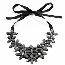 Women Elegant Crystal Flower Ribbon Chain Necklace Bib Statement Collar Chunky