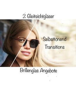2 Gleitsichtgläser Transitions Generation 8 Selbsttönend Index1.6 inkl.Einschlif
