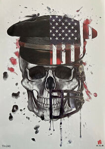 Temporary Tattoo Evil Skull USA Body Art Fake Waterproof
