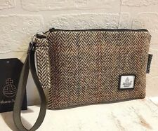 HARRIS TWEED PURSE CLUTCH POUCH BAG BROWN BLACK HERRINGBONE LINEN FLORAL LINING