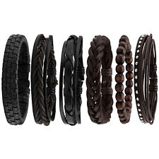 6pc Mens Braided Fashion Bracelets PU Leather Bracelet Bangle Wrap Wristband UK