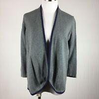 Ann Taylor Loft Womens Cardigan Sweater M Gray Navy Trim 3/4 Sleeve Cotton