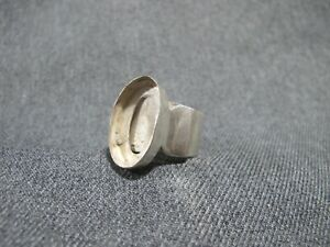 Vintage marked SJ 925 modernist sterling silver ring oval space for a jewel