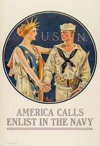 Joseph Christian Leyendecker America Calls Poster Giclee Canvas Print