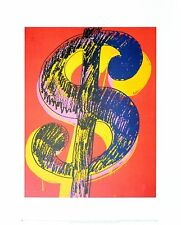 Andy Warhol dollari Sign 1981 Black & Yellow on Red poster stampa d'arte 36x28cm
