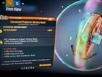 GOD ROLL Elemental Projector Victory Rush SMG Mag Size Cooldown xbox BL3