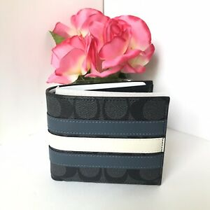 NWT COACH 3-IN-1 SIGNATURE CANVAS WITH VARSITY STRIPE MEN'S WALLET F26072