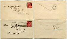 YORK to CANADA 1907 + 1909 NORWICH ONTARIO KE7 1d POST 2 COVERS ADA WALKER