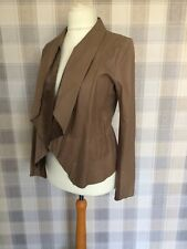 NWOT NEXT Waterfall REAL LEATHER Jacket light Brown/Beige Size 10 - STUNNING