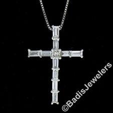 18K White Gold 1.08ctw E VVS2 Baguette & Princess Diamond Cross Pendant w/ Chain