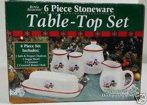 Royal Seasons Christmas Snowman Salt Pepper Sugar Creamer Butter 6pc RN3