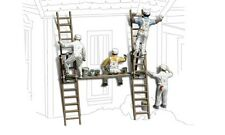 4 Painters with ladders & more - Model Trains N SCALE Painted & assembled