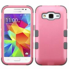 Coque Housse étui Hybride Pour Samsung Galaxy Core Prime Prevail LTE, Rose/Gris