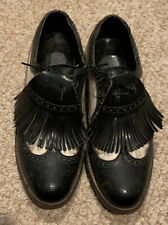 VINTAGE Classic Mens Golf Shoes Wingtip Black And White Size 10.  Metal Spikes.