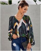 Tops V Neck Loose Blouse Top Long Sleeve T-Shirt New Pullover Womens Elegant