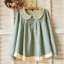 Brand New Japan Mori Style Peterpan Collar Polka Dot Shirt Blouse Top XS