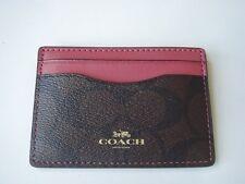 NWT COACH Signature PVC Credit Card Case Wallet Brown Mauve (Rouge) $65