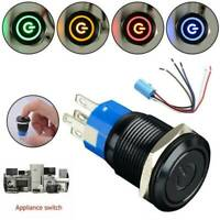 19mm 12V Car LED Power Momentary Push Button Metal ON/OFF Switch Waterproof NEW