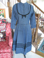 Vintage 50's L'AIGLON Blue Shirtwaist Dress Imported Fabric Marked Size 12
