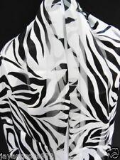 """Zebra Striped Poly Satin Scarf - 13"""" X 60"""" Zebra Designed Scarves"""