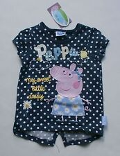 NUEVO TU GB Niña Peppa Pig Azul Marino Lunares aplicación camiseta 18m 2t