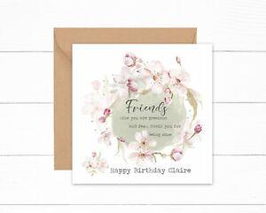 Personalised Birthday Card Special Friend Best Friend Precious & Few Watercolour