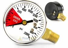 "Beer Beverage Pressure Gauge 2000 Psi Right Hand Thread Co2 Beer Kegerator 1/4"""