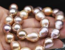 "18""13-14mm genuine Australia south sea pink baroque pearl necklace"