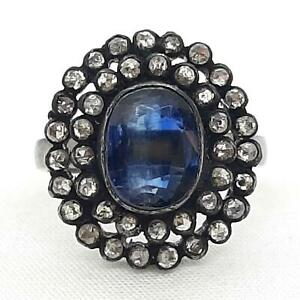 Antique 2.60ctw Old Rose Cut F-SI Diamond & Sapphire 925 Silver Ring Size 7.25