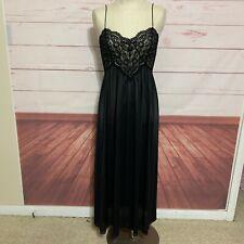 Vintage Miss Elaine Nightgown Sexy Peignoir Nylon Chiffon Long Black Lace Small