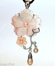 Fashion Women's Natural Pink Abalone shell pearl flower pendant Jewelry