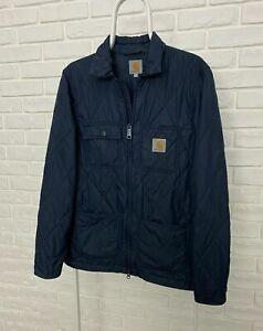 Men's Carhartt Pender Coat Dark Navy Quilted Jacket Size S Zip Bomber Logo