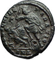 CONSTANTIUS II Authentic Ancient 350AD Roman Soldier BATTLE Scene Coin i67235