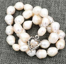 "10-12mm BIG RICE SHAPE WHITE REAL NATURAL PEARL NECKLACE 18""Tibetan silver love"