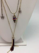 $58 Betsey Johnson Americana Three Row Necklace  W-55