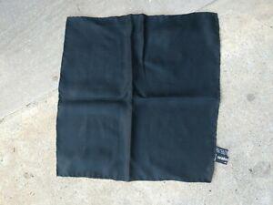 Santostefano Black Silk Self Stripe Pocket Square Hand Rolled In Italy