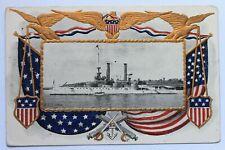 Old embossed postcard BATTLESHIP U.S.S. IOWA, navy, military