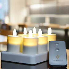 Luminara Realistic Flameless Rechargeable LED Tea Light 6 Set Ivory with Timer