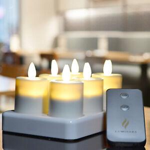 Luminara Realistic Flameless Rechargeable LED Tea Light 6 Set Ivory with Timer