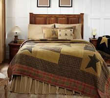 STRATTON STAR * CAL King * QUILT : RUSTIC CABIN PRIMITIVE BROWN TAN COMFORTER