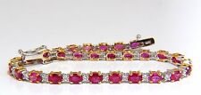 6.82CT NATURAL BRIGHT VIVID RED RUBY DIAMONDS TENNIS BRACELET 14Kt+