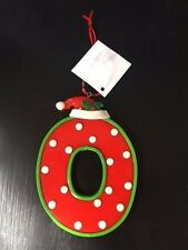 Christmas theme ornaments/monogram Letter O red green with Santa hat NWT
