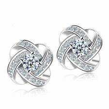 925 Silver Plated Women Jewelry Love Forever Elegant Crystal Ear Stud Earrings