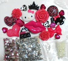 DIY 3D Kitty Fuchsia Bling Bling Flatback Cabochons Cell Phone Case Deco Kit