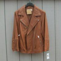 Ladies Michael Kors Jacket Soft Vintage Leather Jacket Ex Ex Large Cognac BNWTs