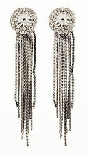 CLIP ON EARRINGS - grey earring with crystals & linked strands - Carol GM
