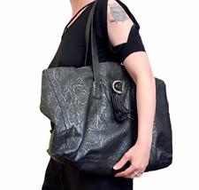 RARE Charivari NYC Vintage Black Snake Print Italian Leather Tote Bag Huge Purse