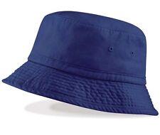 Mens Mans Summer Sun Vintage Style Chino Bucket Hat Navy Blue  Cotton UPF50+