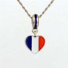 HEART FRANCE FRENCH FLAG DANGLE .925 Sterling Silver European Charm Bead